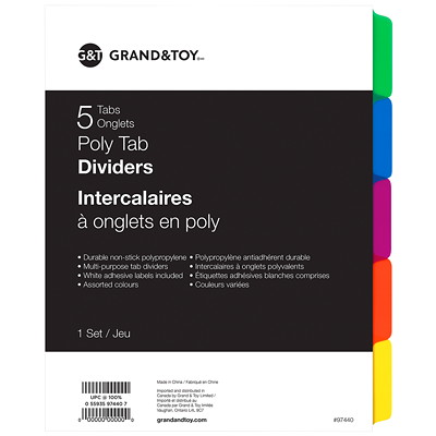 Grand & Toy Poly Tab Dividers, Multi-Coloured, Letter-Size, 5-Tabs/ST, 1-ST/PK