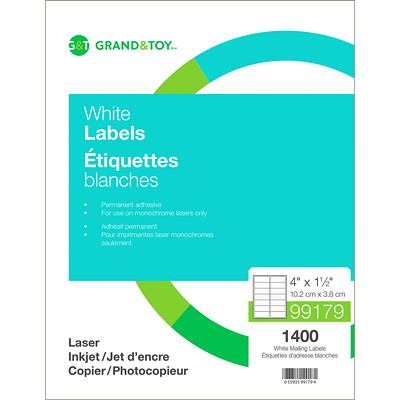 "Grand & Toy Mailing Laser Labels, White, 4"" x 1 1/2"", 14 Labels/Sheet, 100 Sheets/BX 14/SHEET 100 SHEETS/BX"