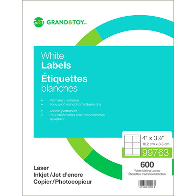 Grand & Toy White Mailing Laser Labels 6/SHEET 100 SHEETS/BOX