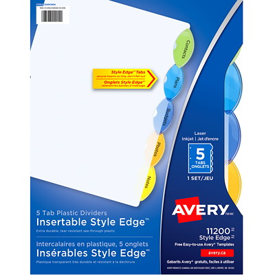 Avery Style Edge Insertable Plastic Dividers, Clear with Translucent Coloured Tabs, Letter-Size, 5-Tabs/ST, 1-Set/PK DIVIDERS 5-TAB ASSRT COLOURS 1 SET/PKG SFI CERTIFIED
