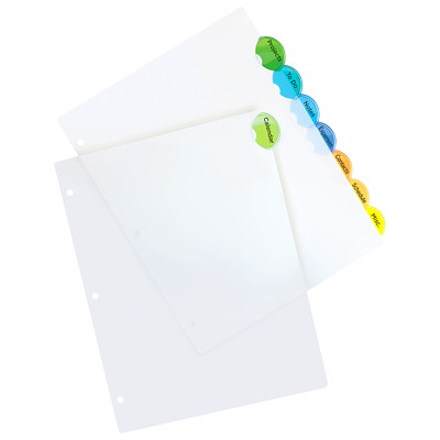 Avery Style Edge Insertable Plastic Dividers, Clear with Translucent Coloured Tabs, Letter-Size, 8-Tabs/ST, 1-Set/PK DIVIDERS 8-TAB ASSRT COLOURS 1 SET/PKG  SFI CERTIFIED