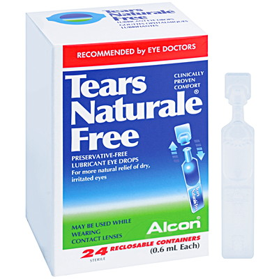 Alcon Tears Naturale Free Preservative-Free Lubricant Eye Drops 24 SINGLE USE EYE DROPS
