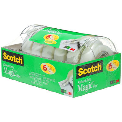 "Scotch Magic Invisible Tape, 6 Pack Refillable 3/4"" X 850""  6 PK DISPENSERED  REFILLABLE"