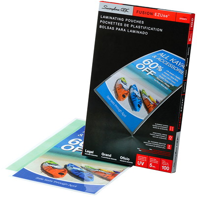 Swingline GBC Clear Fusion EZUse LongLife Legal-Size Speed Thermal Laminating Pouches DIRECTIONAL ARROWS & MIL SIZE