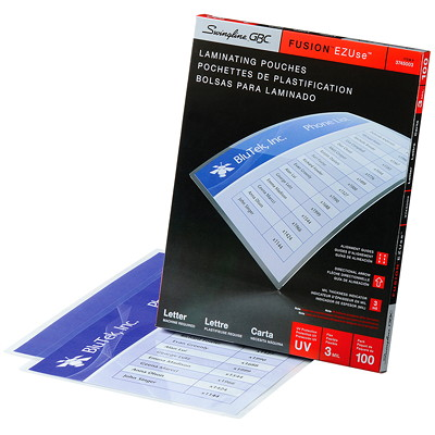 Swingline GBC Clear Fusion EZUse LongLife Letter-Size Speed Thermal Laminating Pouches DIRECTIONAL ARROWS & MIL SIZE