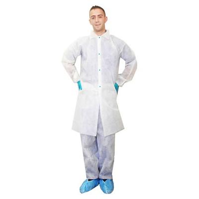 Ronco Care Lab Coats With 4-Snap Closure, White, Medium, 50/CT WHITE; 50/CASE