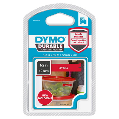 DYMO D1 Durable Label Cassette, White Ink/Red Tape, 12 mm x 3 m INDORS/OUT.DISHWSHR RESITANT
