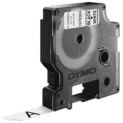 DYMO D1 Durable Label Cassette, Black Ink/White Tape, 12 mm x 5 1/2 m INDORS/OUT.DISHWSHR RESITANT