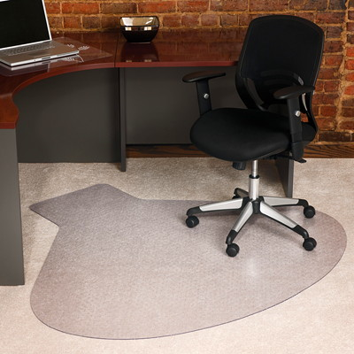 "ES ROBBINS EverLife 66"" x 60"" Medium Pile Workstation Straight Edge Chairmat FOR MEDIUM PILE CARPET STRAIGHT EDGE  ANCHOR BAR CLEA"