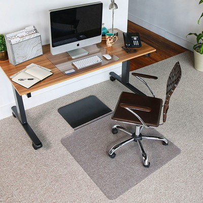 "ES ROBBINS Sit or Stand 36"" x 53"" Low-Pile Carpet And Hard Floor Straight Edge Chairmat With Lip  DUAL PURPOSE  CARPET & HARD FL BUILT IN ANTI-FATIGUE MAT"