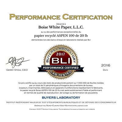 Papier recyclé de choix à usages multiples Aspen 100 Boise, 20 lb, Format légal, rame 100% FIBRE DE POST-CONSOM.