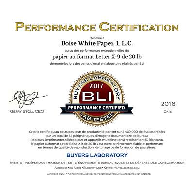 Papier à usages multiples X-9 Boise, rame X9000 SANS ACIDE COMPAT. LASER ANTI-STATIQ.BRILLANCE 92