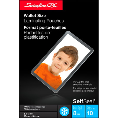 "Swingline-GBC Clear SelfSeal Wallet-Size Cold Laminating Pouch, 10/Pk COLD LAMINATE 2 5/8""X3 15/16"" 10/PK"