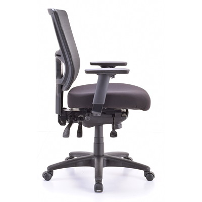 Eurotech Apollo II Multifunction Mid-Back Chair With Seat Slide  BLACK FABRIC SEAT MESH BACK SE BACK AND SEAT ANGLE ADJUSTMENT