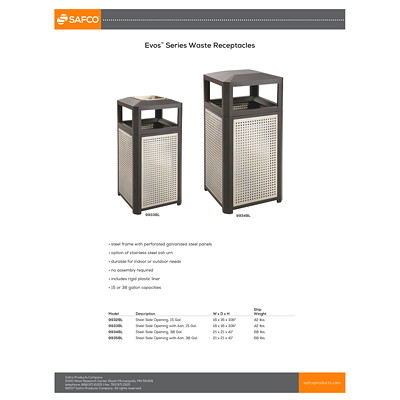 Safco Evos Series 15-gal Steel Waste Receptacle