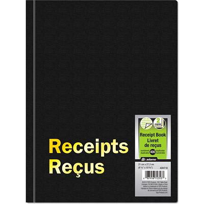 "Adams Hardbound 2-Part Receipt Book, 8 1/4"" x 10 3/4"" 4/PAGE CARBONLESS  8-1/4"" X 10-3/4""  400/PAD"