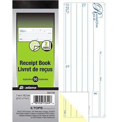 "Adams 2-Part Receipt Book, 1/page, 50 receipts BILINGUAL CARBONLESS 2 3/4"" X 7 3/16"""