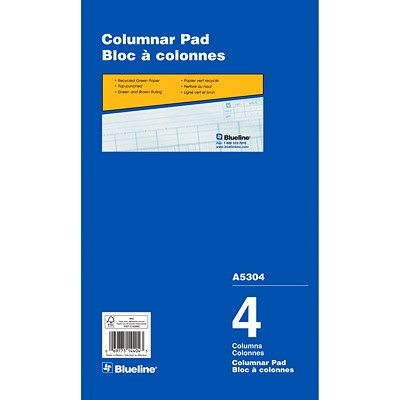 """Blueline 8 1/4"""" x 14"""" Columnar Pad 50 SHT GRN TINT 2 HOLE TOP PUNCHED 43 LINES DOMINION"""