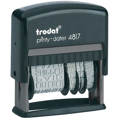Trodat Printy 4817 Self-Inking Dial-A-Phrase Stamp 12 OFFICE PHRASES COVERS 12 YR LIFETIME GUARANTEE
