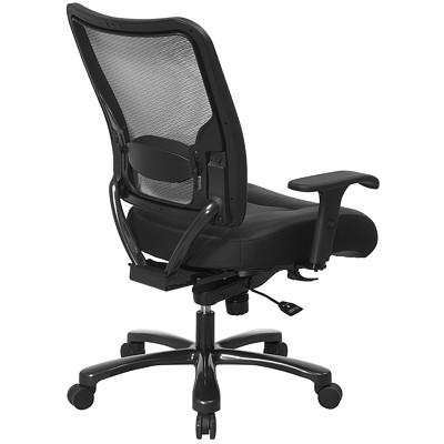 Office Star Big And Tall Dark Air Grid Back Ergonomic Leather/Mesh Chair FEAT. ADJ LUMBAR  ADJ ARMRESTS TILT WEIGHT CAP UP TO 400 LB