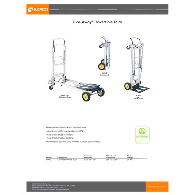 Safco HideAway Convertible Hand Truck