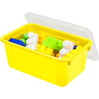 "Storex 8 L Yellow Cubby Bins With Transparent Lids  12.2""LX7.8""WX5.1""H"