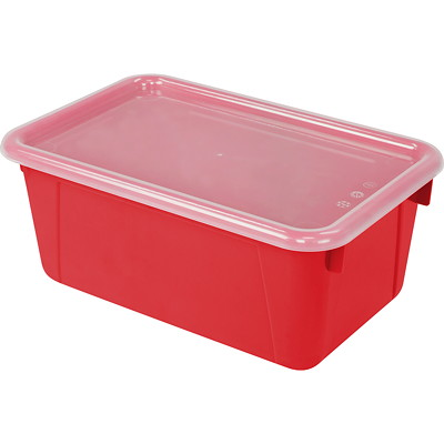 "Storex 8 L Red Cubby Bins With Transparent Lids  12.2""LX7.8""WX5.1""H"
