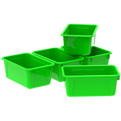 "Storex 8 L Green Cubby Bins With Transparent Lids  12.2""LX7.8""WX5.1""H"