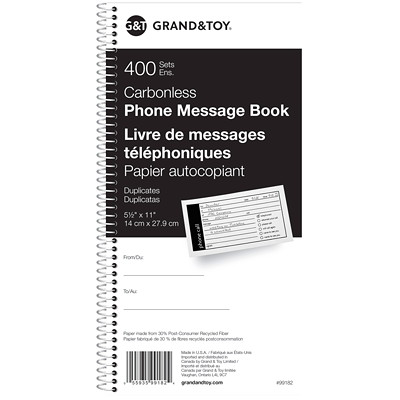 """Grand & Toy Telephone Message Book, 11"""" x 6"""" COIL BOUND 400 MESSAGES 4/PG"""