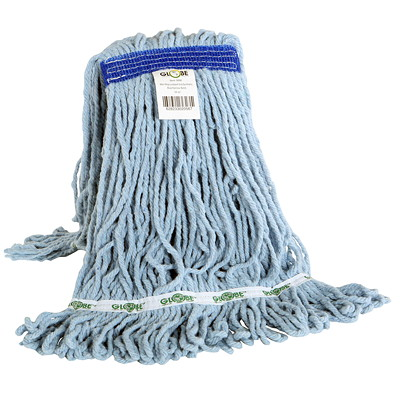 Globe Commercial Products Synthetic Looped End Wet Mop Head With Narrow Band, 16 oz  NARROW BAND BLUE EXCELLENT ABSORBENCY & RELEASE