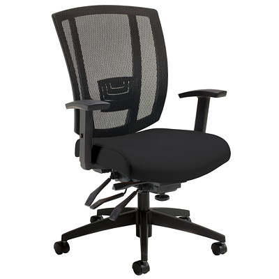 Offices To Go Avro Multi-Tilter Chair, Black, Mesh/Leather, Mid-Back  MID-BACK BLK BOND LEATHER/MESH