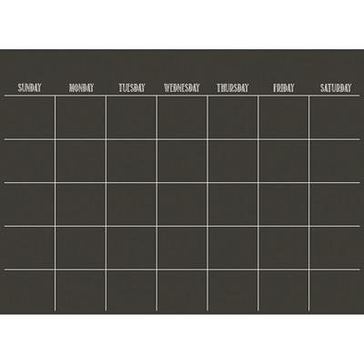"""Calendrier mensuel autocollant effaçable à sec WallPops, 24po x 171/2po, noir, anglais 24""""X 17.5""""  PEEL & STICK WITH WHITE MARKER & ERASER"""