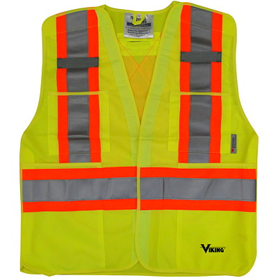 Viking 5-Point Tear Away Bright Green S/M Safety Vest CLASS 2 LEVEL 2 5PT TEARAWAY HI-VIS GREEN