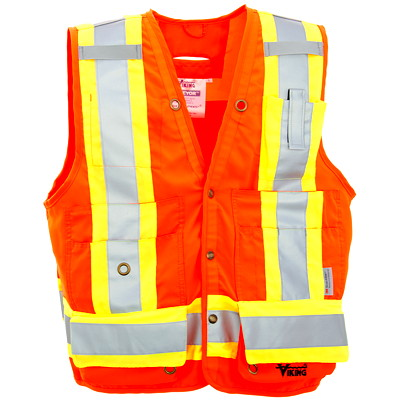 Viking Bright Orange Small Surveyor Safety Vest CLASS 2 LEVEL 2  CSA 13 POCKETS