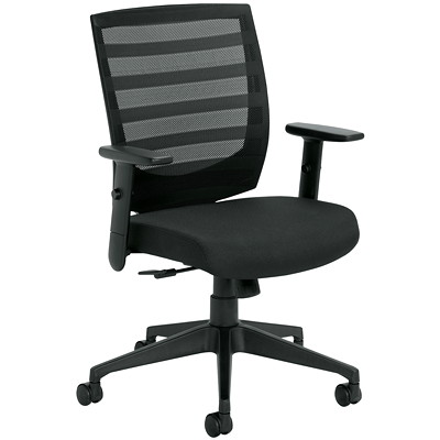 Offices To Go Nemo Black Fabric/Mesh Mid-Back Tilter Chair MEDIUM BACK TILTER CHAIR BLACK FABRIC  BLACK MESH BACK
