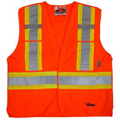 Viking 5-Point Bright Orange Tear Away 4XL/5XL Safety Vest CLASS 2 LEVEL 2 5PT TEARAWAY HI-VIS GREEN