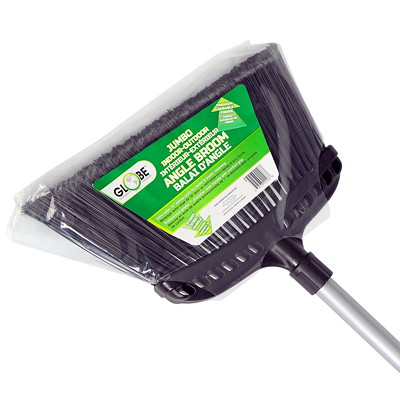 """Globe Commercial Products Jumbo 16"""" Commercial Angle Broom  HEAVY-DUTY OUTDOOR USE PRO. GRADE  FOAM COMFORT GRIP"""