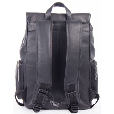 "Bugatti 15.6"" Black Leather Laptop Backpack 10"" TABLET SECTION. BLACK HIDDEN TROLLEY PASS-THROUGH"