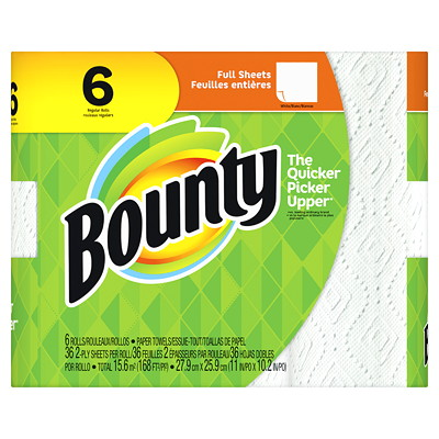 Bounty 2-Ply Full Sheet Paper Towels, White, 36 Sheets/RL, 6/PK  WHITE 2-PLY 36 SHEETS/ROLL