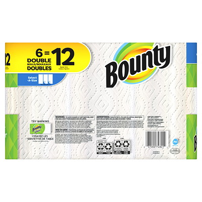 Bounty 2-Ply Select-A-Size Paper Towels 6=12, White, 110 Sheets/RL, 6/PK SELECT-A-SIZE  WHITE 110 SHEETS/ROLL