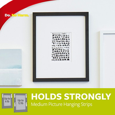 Command Picture and Frame Hanging Strips, White, Medium, 3 lb Capacity, 3 Sets/PK COMMAND INTERLOCKING MEDIUM EACH HOLDS 3LBS