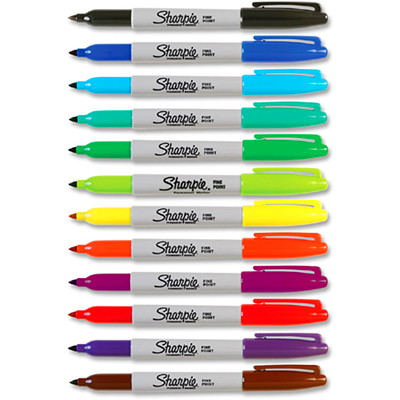 Sharpie Fine-Tip Markers in Assorted Colours, 12/Pk