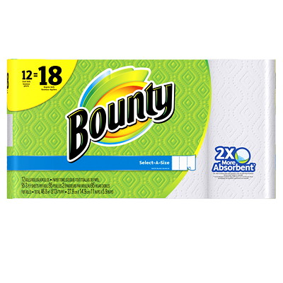 Bounty 2-Ply Select-A-Size Paper Towels 12=18, White, 95 Sheets/RL, 12/PK SELECT-A-SIZE  WHITE 95 SHEETS/ROLL
