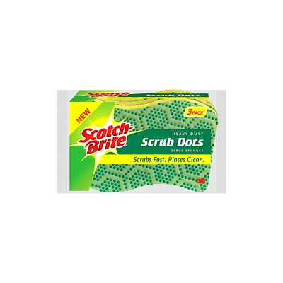 Scotch-Brite Scrub Dots Scrub Sponges, Heavy-Duty, Green, 3/PK HEAVY DUTY SPONGE 3PK