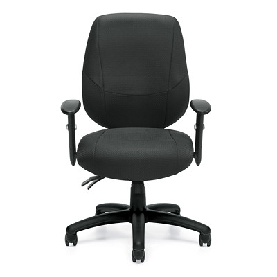 Offices To Go Six 31 Mid-Back Operator Chair, Black Quilt Fabric MEDIUM BACK  BLACK FABRIC