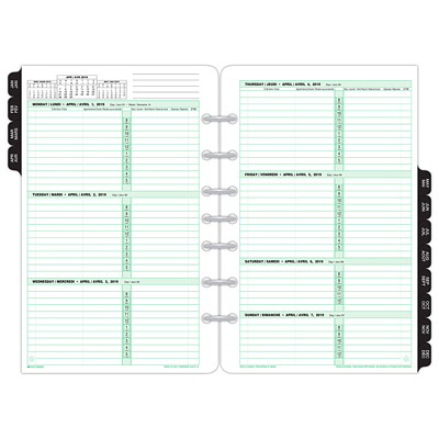 "Day-Timer Weekly Planner Refill, 8 1/2"" x 5 7/16"", January 2019 - December 2019, Bilingual  5.5X8.5 30% PCW"
