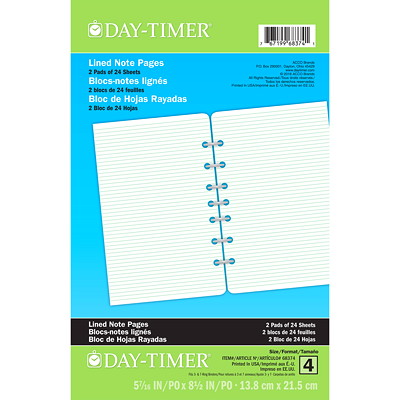 "Day-Timer Lined 7 Hole-Punched Note Pages, 5 1/2"" x 8 1/2"", Trilingual, 2 Pads of 24 Sheets 5-1/2 X 8-1/2 TRILINGUAL"