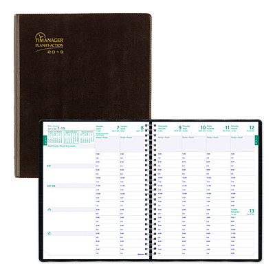 "Blueline Timanager Weekly Planner, 8 1/2"" x 6 3/4"", Black, December 2018 - December 2019, Bilingual 8-1/2 X 6-3/4 BILINGUAL 50% PCW  FSC CERTIFIED"