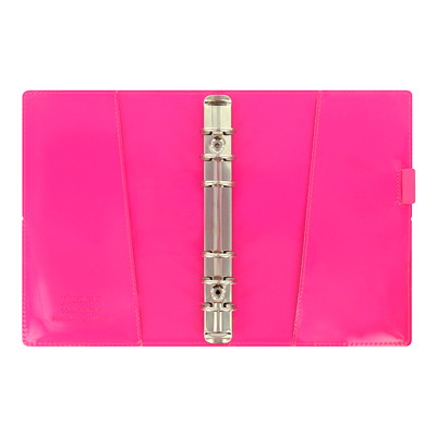 "Filofax Domino Patent Weekly Organizer, 6 3/4"" x 3 3/4"", Pink, January 2019 - December 2019, Multilingual  PERSONAL SIZE PINK  MULTILINGUAL"