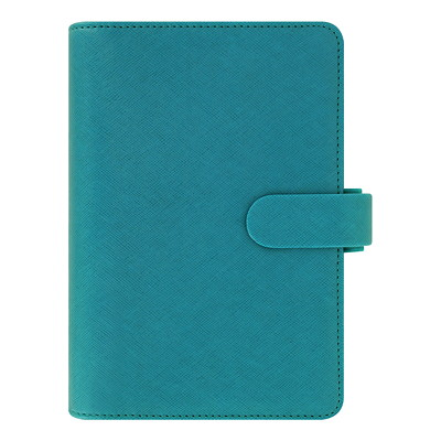"Filofax Saffiano Weekly Organizer, 5 3/10"" x 7 1/2"", Blue, January 2019 - December 2019, Multilingual SAFFIANO - AQUAMARINE PERSONAL SIZE  MULTILINGUAL"